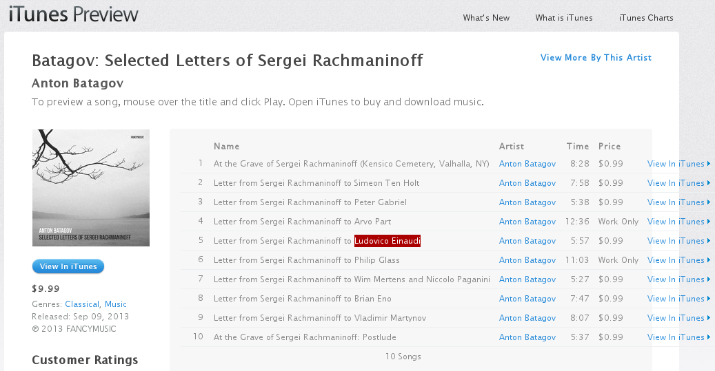 "The album page in the iTunes Web site, modified to show the full track names.      Track 5 is called ""Letter from Sergei Rachmaninoff to Ludovico Einaudi"", and      Ludovico Einaudi's name is highlighted."